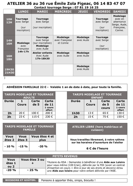 Tableau des horaires et des tarifs des cours